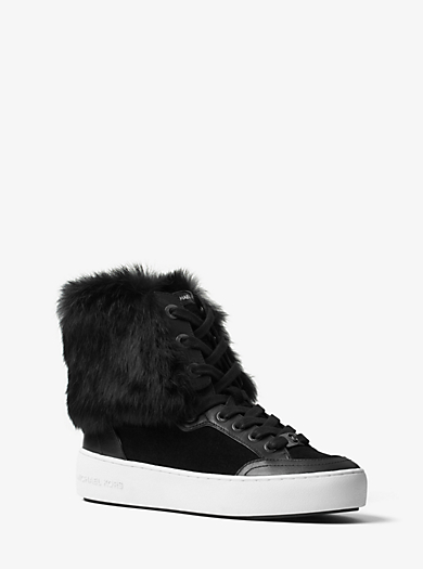 Poppy High-Top Fur-Lined Suede Sneaker by Michael Kors