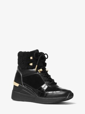 마이클 마이클 코어스 트레이닝화 Michael Michael Kors Liv Mixed-Media High-Top Trainer,BLACK