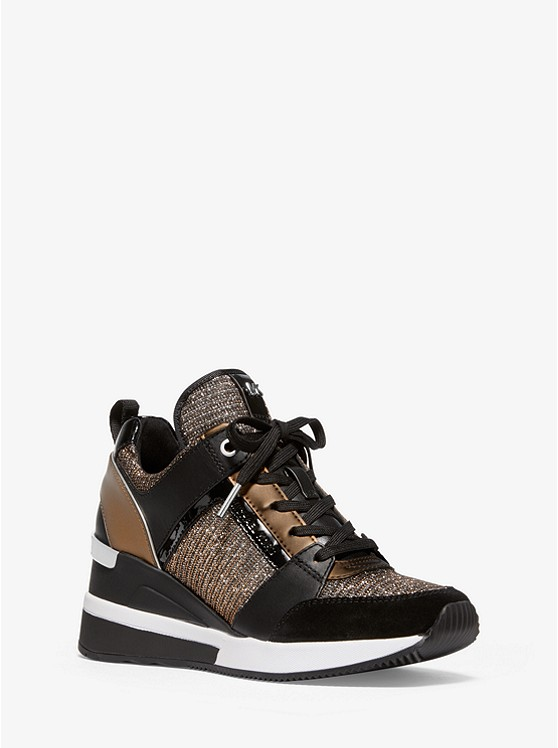 Georgie Chain-Mesh and Leather Trainer | Michael Kors