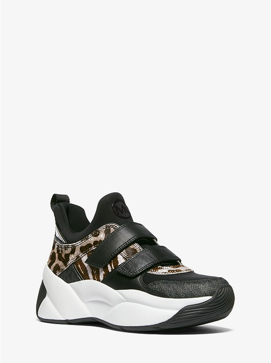 Keeley Animal-Print Calf Hair and Logo Trainer | Michael Kors