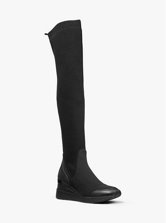 Khloe Stretch Knit and Scuba Over-the-Knee Boot | Michael Kors
