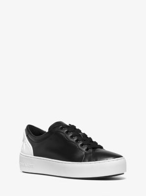 마이클 마이클 코어스 Michael Michael Kors Khloe Two-Tone Leather Sneaker,BLACK