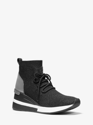 마이클 마이클 코어스 스카일러 메탈릭 삭스슈즈 - 블랙 건메탈 Michael Michael Kors Skyler Metallic Stretch-Knit Lace-Up Sock Sneaker,BLACK/GUNMETAL