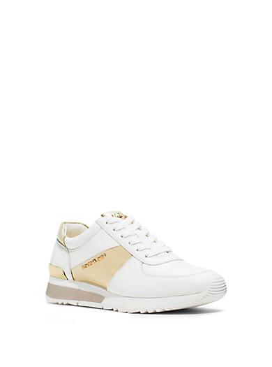 Allie Metallic-Trim Leather Sneaker by Michael Kors