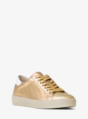 Frankie Embossed-Leather Metallic Sneaker by Michael Kors