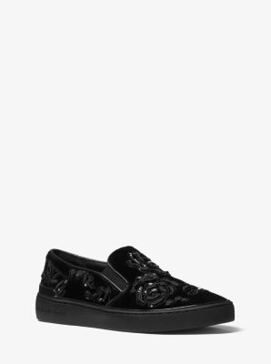 Kyle Embroidered Velvet Slip-On Sneaker