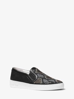 Leo Embellished Suede Slip-On Sneaker by Michael Kors