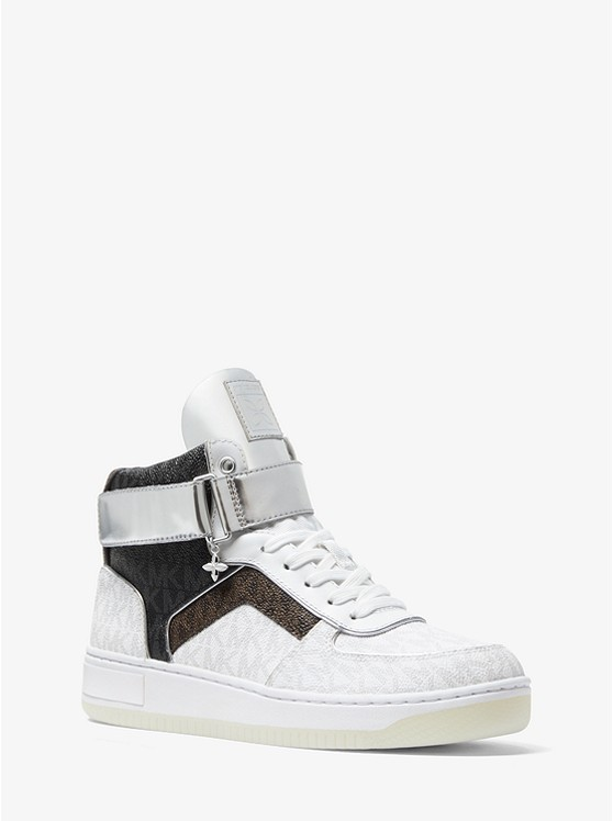 Jaden Color-Block Logo High-Top Sneaker | Michael Kors