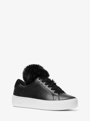 마이클 마이클 코어스 스니커즈 Michael Michael Kors Mindy Faux Fur and Leather Sneaker,BLACK