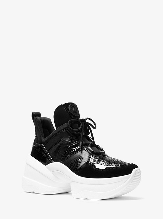 Olympia Leather Mixed-Media Trainer | Michael Kors