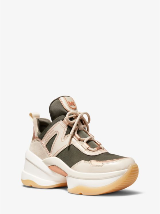 Olympia Canvas and Leather Trainer