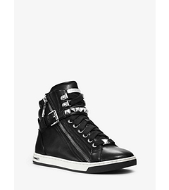 Glam Studded Patent-Leather High-Top Sneaker