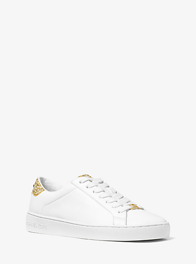 Irving Embellished-Leather Sneaker by Michael Kors