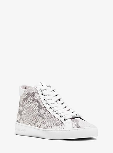 Pratt High-Top Embossed-Leather Sneaker  by Michael Kors