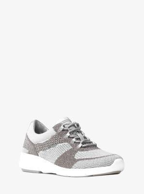 마이클 마이클 코어스 Michael Michael Kors Skyler Metallic Knit Trainer,silver/white