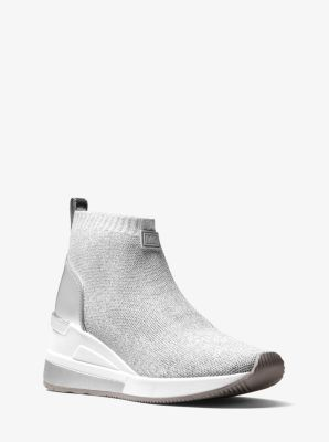 마이클 마이클 코어스 스니커즈 Michael Michael Kors Skyler Metallic Stretch-Knit Sock Sneaker,SILVER