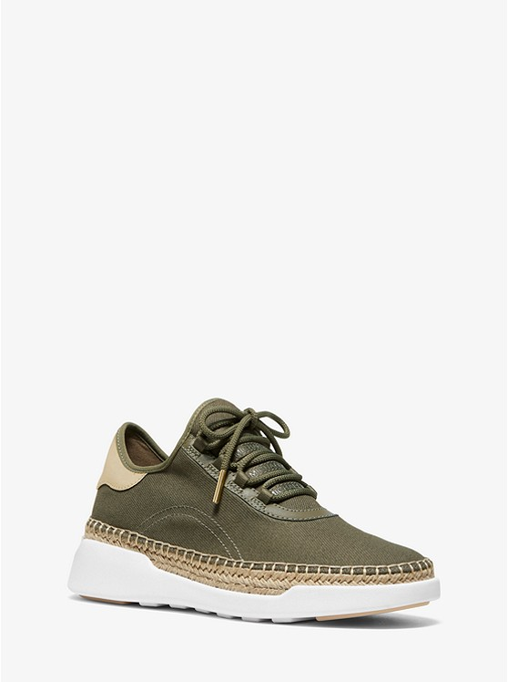 Finch Canvas and Leather Lace-Up Sneaker | Michael Kors