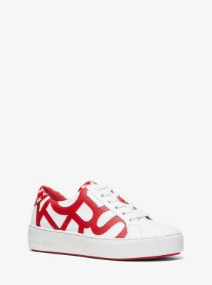 마이클 마이클 코어스 스니커즈 - 옵틱 화이트, 브라이트 레드 Michael Michael Kors Poppy Graphic Logo Leather Sneaker