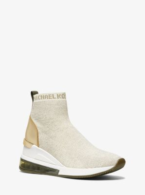 마이클 마이클 코어스 스니커즈 Michael Michael Kors Skyler Extreme Metallic Stretch-Knit Sock Sneaker,CREAM/PL GLD