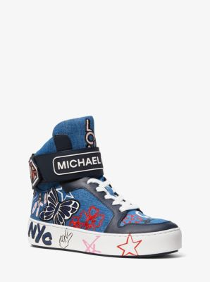 마이클 마이클 코어스 스니커즈 Michael Michael Kors Trent Embroidered Denim High-Top Sneaker,DENIM