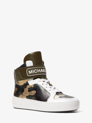 마이클 마이클 코어스 스니커즈 Michael Michael Kors Trent Metallic Camo High-Top Sneaker,OLIVE COMBO