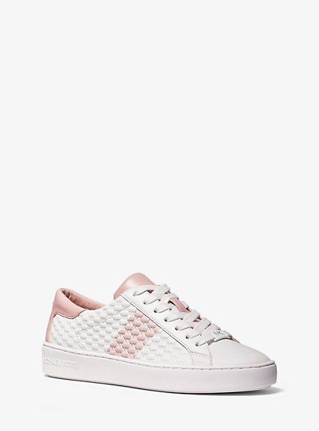 Michael Kors COLBY STRIPED LOGO EMBOSSED LEATHER SNEAKER