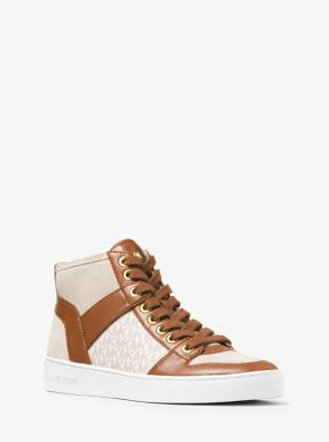 Matty Logo Leather and Suede High-Top Sneaker  by Michael Kors