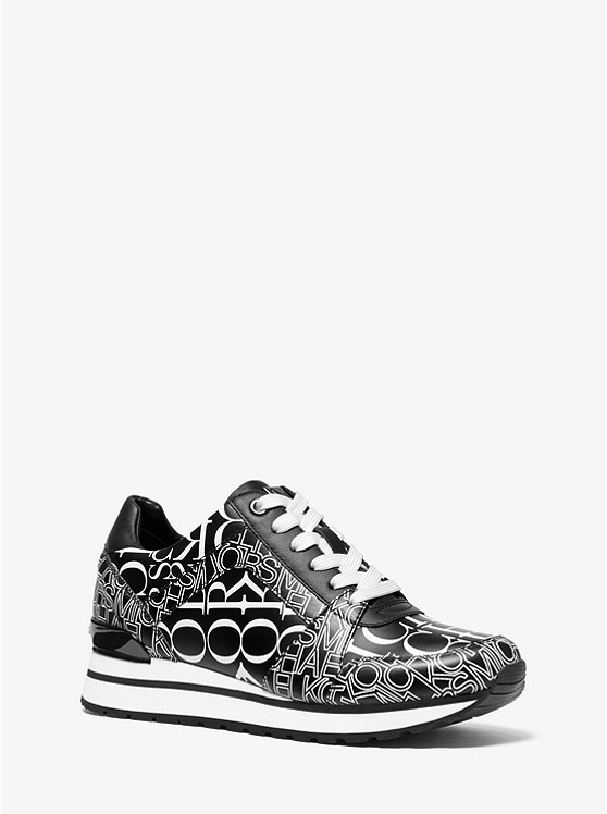 Billie Newsprint Logo Leather Trainer | Michael Kors
