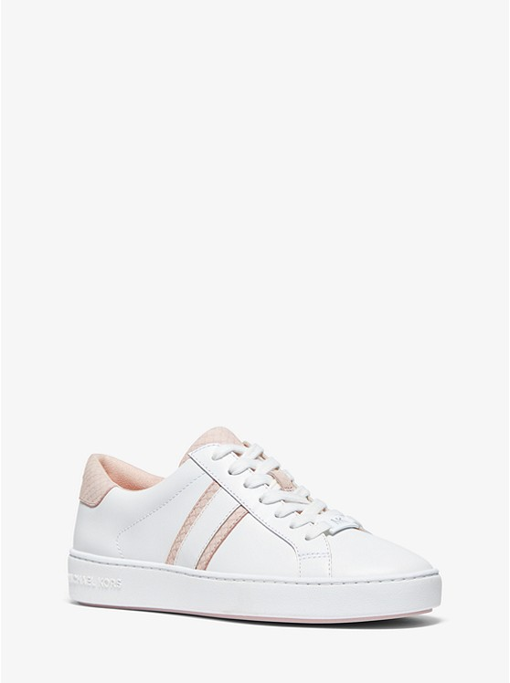 Irving Snake-Embossed Leather Stripe Sneaker | Michael Kors