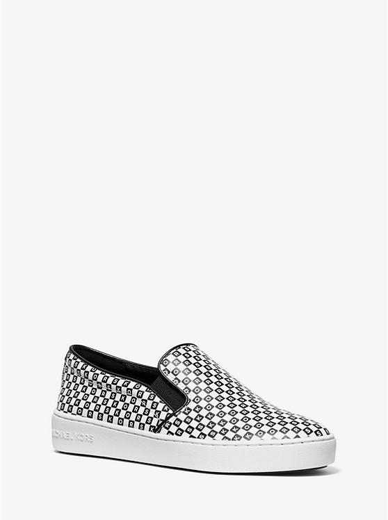 Keaton Checkerboard Logo Leather Slip-On Sneaker | Michael Kors