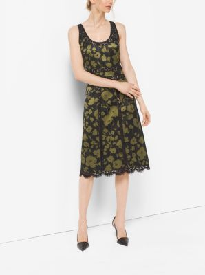 Floraflage Silk and Lace Dress by Michael Kors