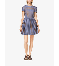 Lattice-Embroidered Gingham Dress by Michael Kors