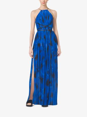 Poppy-Print Pleated Silk-Georgette Column Gown by Michael Kors