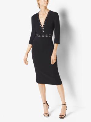Grommeted Stretch-Cady V-Neck Sheath Dress by Michael Kors