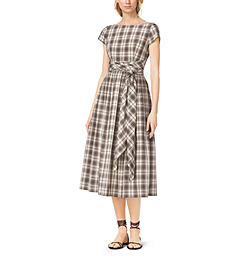 Madras Silk and Cotton Tie-Waist Dress by Michael Kors
