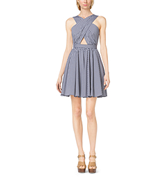 Gingham Stretch-Poplin Cross-Front Dress