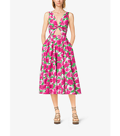Peony-Print Cotton-Poplin Tie-Front Dress by Michael Kors