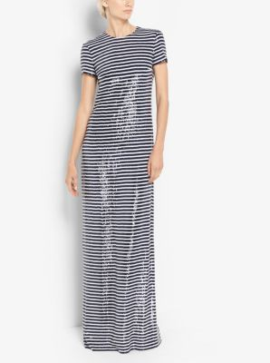 Stripe Sequined Silk-Georgette T-Shirt Gown by Michael Kors