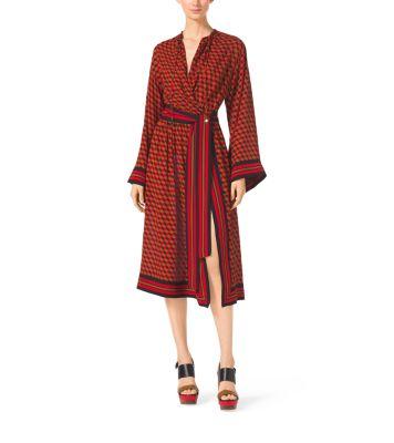 Hexagon Silk-Georgette Kimono Dress by Michael Kors