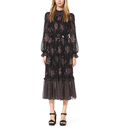 Floral-Print Silk-Chiffon Dress by Michael Kors