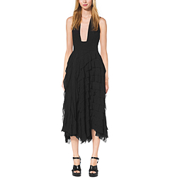 Ruffled Silk-Chiffon Halter Dress