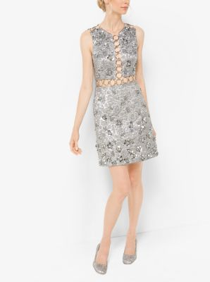 Floral Metallic-Embroidered Brocade Dress by Michael Kors