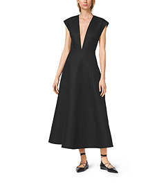 Silk and Wool Mikado Plunge Dress by Michael Kors
