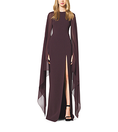 Stretch-Wool Crepe Cape Gown