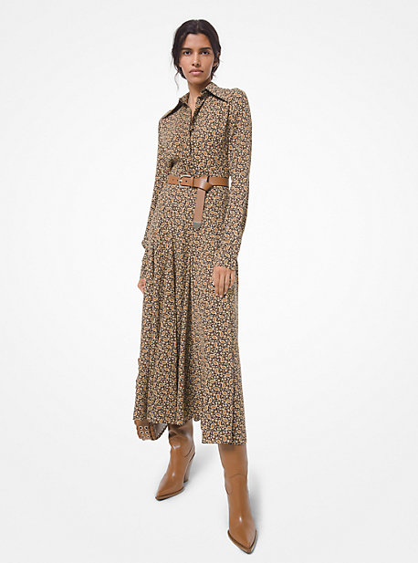 Michael Kors Women's Leopard-print Virgin Wool Shirtdress In Brown