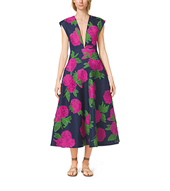 Peony-Embroidered Silk-Wool Mikado Plunge Dress by Michael Kors