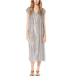 Metallic Velour Fil Coupé Caftan by Michael Kors
