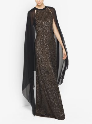Sequined Cape Gown by Michael Kors