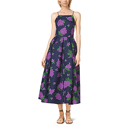 Lilac-Embroidered Silk and Wool Mikado Dress by Michael Kors