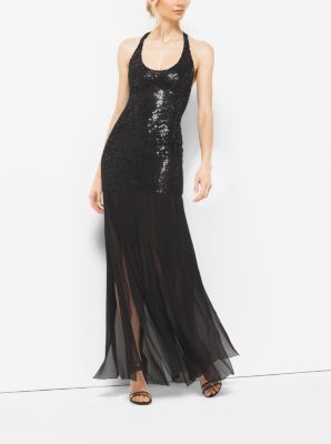 Crystal-Embroidered Stretch Silk-Tulle Slashed Gown  by Michael Kors